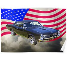 Black 1967 Pontiac GTO with American Flag Poster