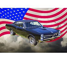 Black 1967 Pontiac GTO with American Flag Photographic Print