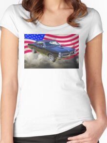 Black 1967 Pontiac GTO with American Flag Women's Fitted Scoop T-Shirt
