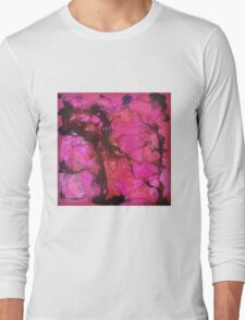 colourful psychedelic magenta pattern Long Sleeve T-Shirt