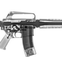 M4 (m16A2) Assault rifle under x-ray on white background  Sticker