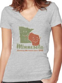 Minnesota Spooning Wisconsin Women's Fitted V-Neck T-Shirt
