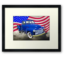 1947 Chevrolet Thriftmaster Pickup And American Flag Framed Print