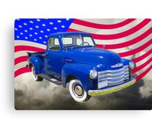 1947 Chevrolet Thriftmaster Pickup And American Flag Canvas Print