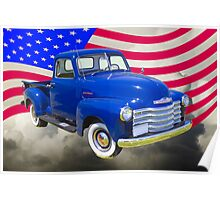 1947 Chevrolet Thriftmaster Pickup And American Flag Poster