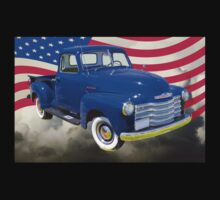 1947 Chevrolet Thriftmaster Pickup And American Flag One Piece - Short Sleeve