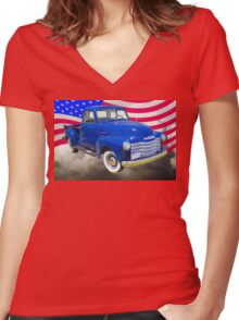 1947 Chevrolet Thriftmaster Pickup And American Flag Women's Fitted V-Neck T-Shirt