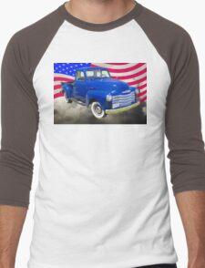 1947 Chevrolet Thriftmaster Pickup And American Flag Men's Baseball ¾ T-Shirt