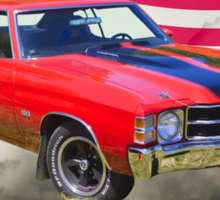 1971 chevrolet Chevelle SS And American Flag Sticker