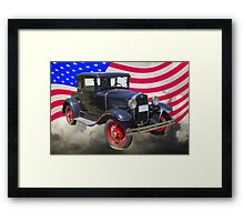 Antique Black Ford Model A Roadster With American Flag Framed Print