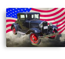 Antique Black Ford Model A Roadster With American Flag Canvas Print