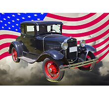 Antique Black Ford Model A Roadster With American Flag Photographic Print