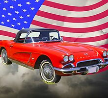 1962 Chevrolet Corvette With United States Flag by KWJphotoart