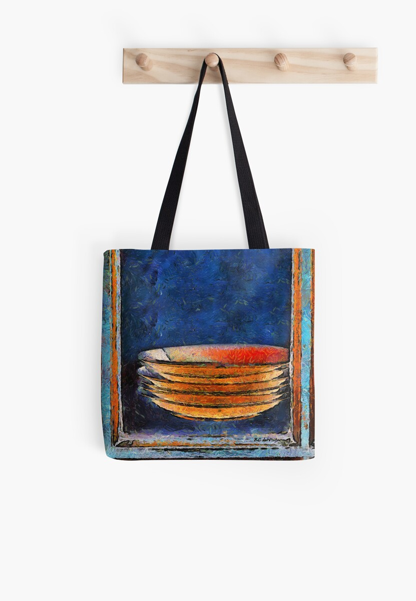 Six Japanese Bowls Pillow and Tote by RC deWinter