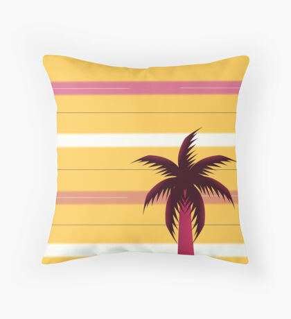 Palm tree in stripes Throw Pillow