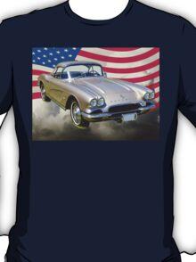 Silver1962 Chevrolet Corvette And American Flag T-Shirt