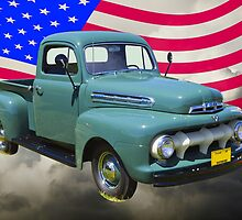 1951 ford F-1 Pickup Truck With American Flag by KWJphotoart