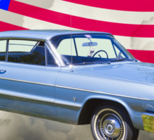1964 Chevrolet Impala Muscle Car And American Flag Sticker