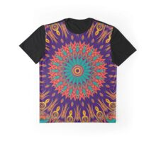 Kaleidoscope Stars & Flames red green lilac Graphic T-Shirt