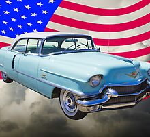 1956 Sedan Deville Cadillac And American Flag by KWJphotoart