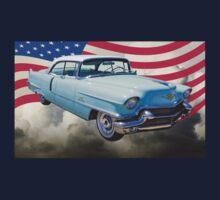 1956 Sedan Deville Cadillac And American Flag Kids Tee