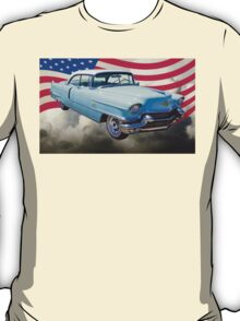 1956 Sedan Deville Cadillac And American Flag T-Shirt