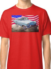 1956 Sedan Deville Cadillac And American Flag Classic T-Shirt