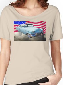 1956 Sedan Deville Cadillac And American Flag Women's Relaxed Fit T-Shirt