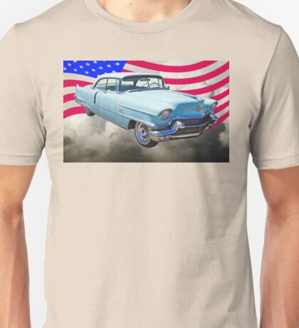 1956 Sedan Deville Cadillac And American Flag Unisex T-Shirt