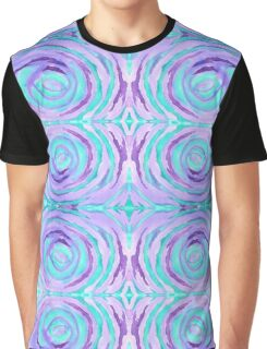 Watercolor Purple Turquoise Swirl Repeating Pattern Graphic T-Shirt
