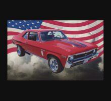 1969 Chevrolet Nova Yenko 427 With American Flag One Piece - Long Sleeve