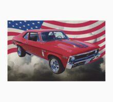 1969 Chevrolet Nova Yenko 427 With American Flag Kids Tee