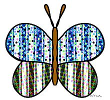 Dotty Stripe Butterfly - Blue Green Photographic Print