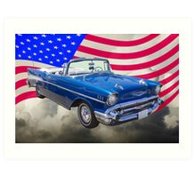 1957 Chevrolet Bel Air With American Flag Art Print