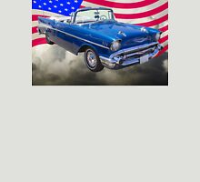 1957 Chevrolet Bel Air With American Flag Unisex T-Shirt