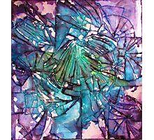 Broken Glass Watercolor Galaxy Mosaic Photographic Print