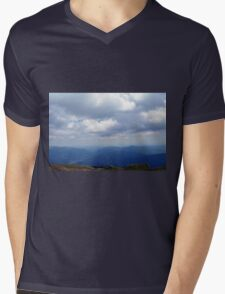 Natural scenery with mountains view and cloudy sky. Mens V-Neck T-Shirt