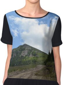 Natural scenery with mountains view and cloudy sky. Chiffon Top