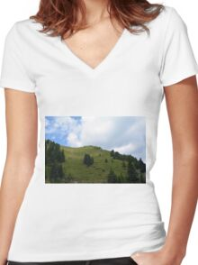 Natural scenery with mountains view and cloudy sky. Women's Fitted V-Neck T-Shirt