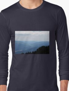 Natural scenery with mountains view and cloudy sky. Long Sleeve T-Shirt