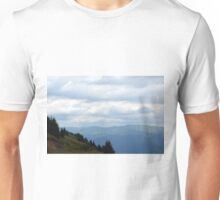 Natural scenery with mountains view and cloudy sky. Unisex T-Shirt