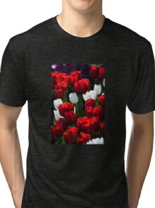 Red and White Tulips Tri-blend T-Shirt