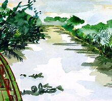 Sundarbans Riverboat in Bangladesh by joelkeyart