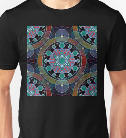 Hexagon Mandala with Stars & Rings seamless pattern Unisex T-Shirt