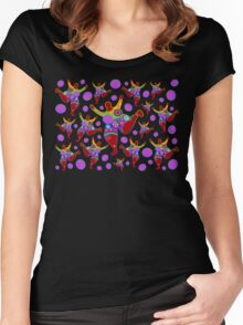 BIG MAMA colorful flower power pattern Women's Fitted Scoop T-Shirt