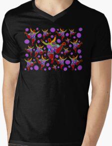 BIG MAMA colorful flower power pattern Mens V-Neck T-Shirt