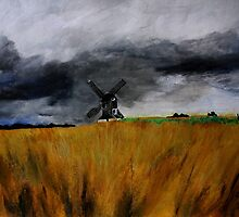 Pitstone Windmill England acrylics on paper by JamesPeart