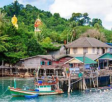 View of Baan Ao Salad port and fishing village on Koh Kood Island, Thailand by Stanciuc