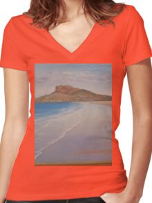 Beach Scene Women's Fitted V-Neck T-Shirt