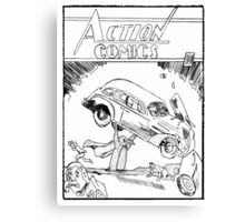 Pengiun Action comics Canvas Print